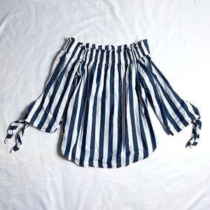 H&M Striped Off Shoulder Cotton Blouse